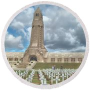 Round Beach Towel featuring the photograph World War I Memorial At Verdun France by John Noyes and Janette Boyd