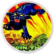 World War I United States Tank Corps Recruiting Poster Round Beach Towel
