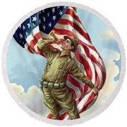 World War One Soldier Round Beach Towel