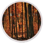World With Octobers Round Beach Towel