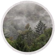 Worlds End State Park Fog Round Beach Towel
