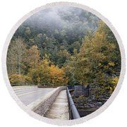 Worlds Ends Exit Road In The Fall Round Beach Towel