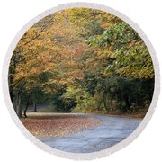 Worlds Ends State Park Road Round Beach Towel