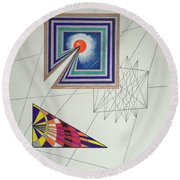 Wormholes Squared Round Beach Towel