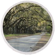 Wormsloe Entrance Road Round Beach Towel