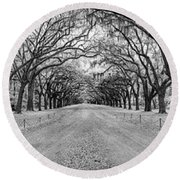 Round Beach Towel featuring the photograph Wormsloe Pathway by Jon Glaser