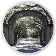 Wormsloe Plantation Gate Round Beach Towel