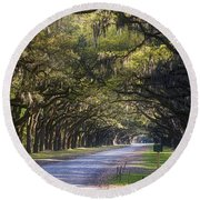 Wormsloe Plantation Lane Round Beach Towel