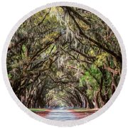 Wormsloe Plantation Oaks Round Beach Towel