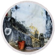 Round Beach Towel featuring the photograph Worn Palace Stairs by Marion McCristall
