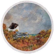 Round Beach Towel featuring the painting Worth The Climb by Judith Rhue