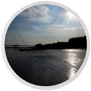 Worthing Pier Silhouette 2 Round Beach Towel