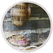 Woven Wood And Stone Round Beach Towel