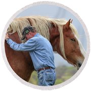 Wrangler Jeans And Belgian Horse Round Beach Towel