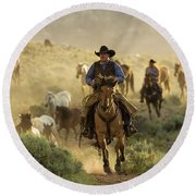 Wrangling The Horses At Sunrise At Absaroka Ranch, Wyoming Round Beach Towel