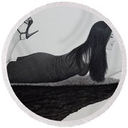 Wrapped Around My Middle Finger Round Beach Towel
