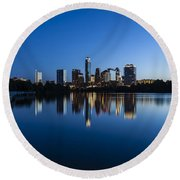 Wrapped In Blue Round Beach Towel