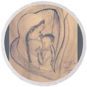 Wrapped Within The Angel Wings Of Momma Round Beach Towel