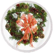 Wreath With Bow Round Beach Towel