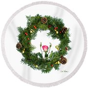 Wreath With Rose Round Beach Towel by Lise Winne
