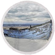 Wreck Of A Barge On A Baltic Beach Round Beach Towel