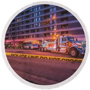 Wrecker And The Wreck At Dusk Round Beach Towel by Jeff at JSJ Photography