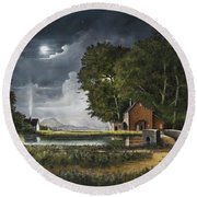 Round Beach Towel featuring the painting Wrekin View by Ken Wood