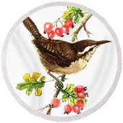 Wren And Rosehips Round Beach Towel