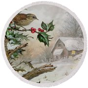 Wren In Hollybush By A Cottage Round Beach Towel by Carl Donner