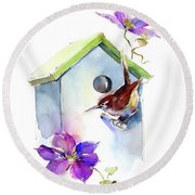 Wren With Birdhouse And Clematis Round Beach Towel