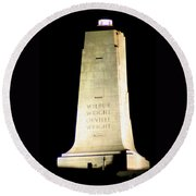 Round Beach Towel featuring the photograph Wright Brothers' Memorial by Karen Harrison