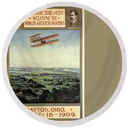 Wright Brothers - World's Greatest Aviators - Dayton, Ohio - Retro Travel Poster - Vintage Poster Round Beach Towel