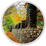 Wright Park Stone Wall In Fall Round Beach Towel