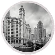 Round Beach Towel featuring the photograph Wrigley Building Chicago by Adam Romanowicz