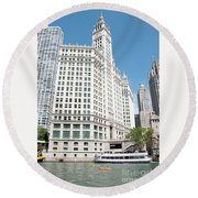 Wrigley Building Overlooking The Chicago River Round Beach Towel