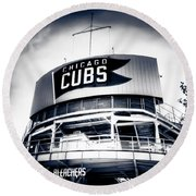 Wrigley Field Bleachers In Black And White Round Beach Towel