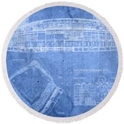 Wrigley Field Chicago Illinois Baseball Stadium Blueprints Round Beach Towel
