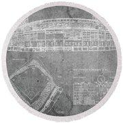 Wrigley Field Chicago Illinois Baseball Stadium Blueprints Gray Round Beach Towel