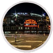 Wrigley Field Marquee At Night Round Beach Towel