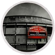 Wrigley Field Round Beach Towel by Stephen Stookey