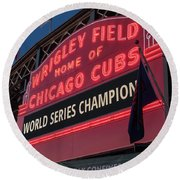 Wrigley Field World Series Marquee Round Beach Towel by Steve Gadomski