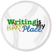 Writing Is My Happy Place Round Beach Towel by Shelley Overton