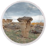 Round Beach Towel featuring the photograph Writing On Stone Park by Fran Riley