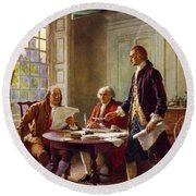 Writing The Declaration Of Independence, 1776, Round Beach Towel by Leon Gerome Ferris