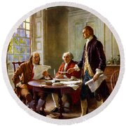 Writing The Declaration Of Independence Round Beach Towel by War Is Hell Store