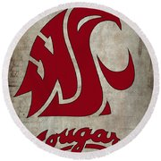 W S U Cougars Round Beach Towel