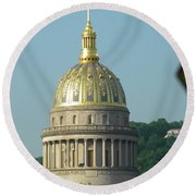 West Virginia State Capital Building  Round Beach Towel