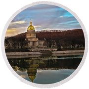 Wv State Capitol At Dusk Round Beach Towel