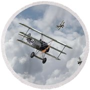 Round Beach Towel featuring the photograph Ww1 - Fokker Dr1 - Predator by Pat Speirs