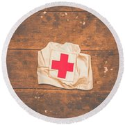Ww2 Nurse Cap Lying On Wooden Floor Round Beach Towel